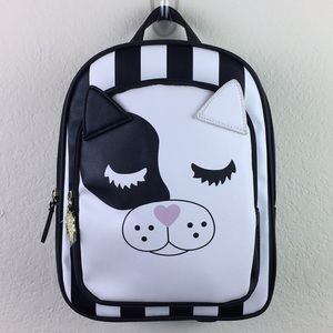 Betsy Johnson Stripe Pink Nose Cat Small Backpack